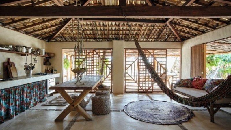 Casas de praia telhado de palha